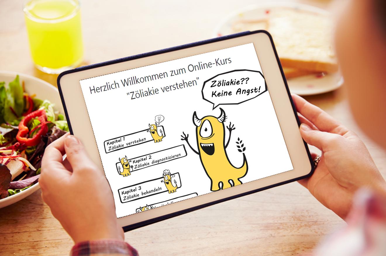 Blick auf ein Tablett-PC mit geöffneter Startseite des Zöliakiekurses für Patienten
