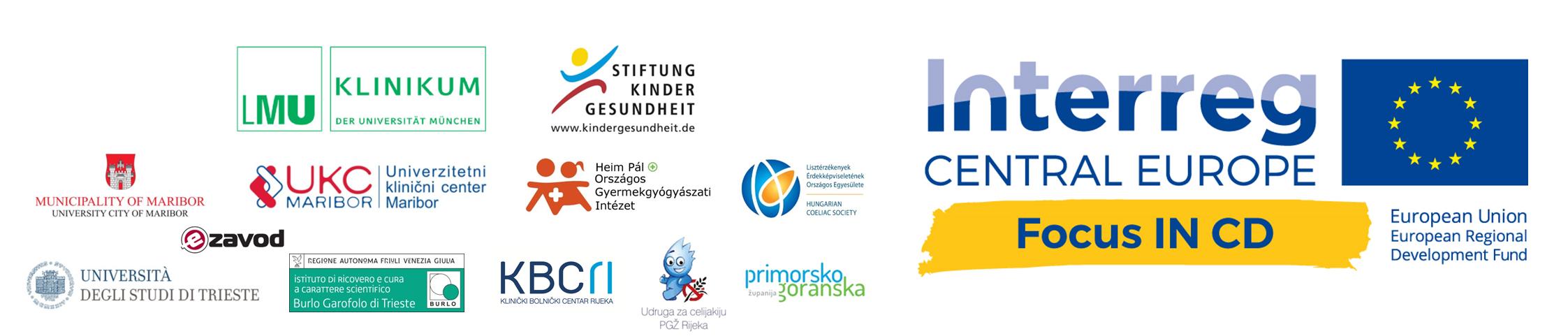 Focus IN CD Projektlogo und die Logos der zwölf Projektpartner aus Deutschland, Slowenien, Ungarn, Kroatien und Italien